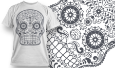 Sugar Skull T-Shirt Design Free CDR Vectors Art