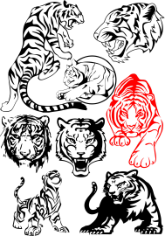 Big Tiger Vectors Pack Free CDR Vectors Art
