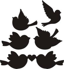 Love Birds Silhouette Free CDR Vectors Art