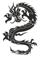 Chinese Dragon Silhouette Tattoo Tribal Free CDR Vectors Art