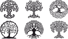 Celtic Trees Free CDR Vectors Art