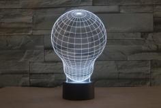Light Bulb 3D LED Illusion Night Light Lamp Free CDr Vectors Art