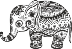 Retro Floral Elephant Free CDR Vectors Art