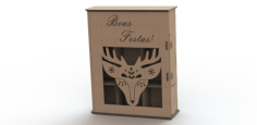 Simple Laser Cut Wine Box Free CDR Vectors Art