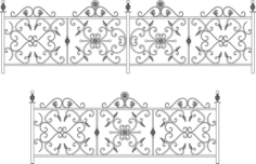 Decorative Wroughtiron Fence Or Railing Free CDR Vectors Art