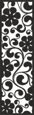 Curl with big Black Flowers Pattern Free CDR Vectors Art