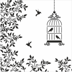 Silhouettes Birds Cage Flowers Illustration Free CDR Vectors Art