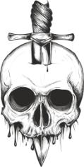 Sword Skull Print Free CDR Vectors Art