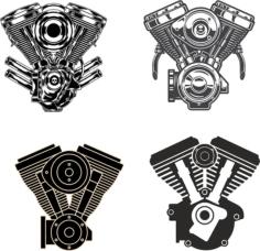 Motorcycle Engine Free CDR Vectors Art
