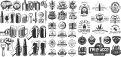 Retro Beer Elements Free CDR Vectors Art