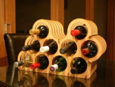 Asymmetrical Wine Rack Laser Cut Free CDR Vectors Art