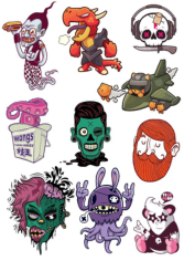 T-Shirt Style Stickers Free CDR Vectors Art