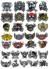 Skull In Motorcycle Helmet Vector Pack Free CDR Vectors Art