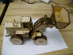 Laser Cut Wood Front End Loader Toy Kit Free CDR Vectors Art