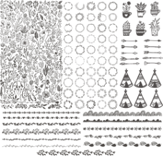 Floral Kit Handdrawn Free CDR Vectors Art