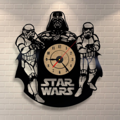 Star Wars Darth Vader Wall Clock and Storm Troopers Free CDR Vectors Art