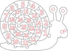 Wooden Number Snail Puzzle Free CDR Vectors Art