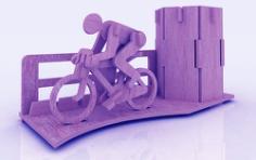 Bicycle Marathon Pen Holder Stand 3mm Free CDR Vectors Art