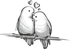 Handdrawn Lovely Birds Free CDR Vectors Art