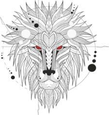 Ferocious Lion Head Totem Free CDR Vectors Art