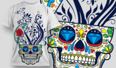 Designious Sugar Skull T shirt Design Free CDR Vectors Art