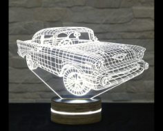 Car 3D LED Night Light Free CDR Vectors Art