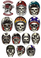 Skull In Helmet Free CDR Vectors Art