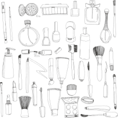 Handdrawn Cosmetics Free CDR Vectors Art