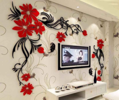 Butterfly tv wall acrylic 3d relief wall sticker Free CDR Vectors Art