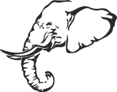 Elephant Stencil Free CDR Vectors Art