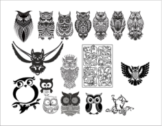 Large set of black and white owl Free CDR Vectors Art
