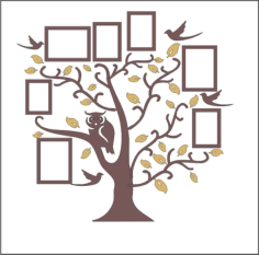 Family Tree Owl Photo Frames Free CDR Vectors Art