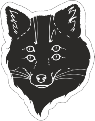 Black Fox Sticker Free CDR Vectors Art