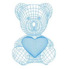 Teddy bear with heart 3d illusion lamp plan Free CDR Vectors Art