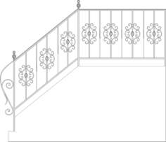 Wrought Iron Stairs Railing, Fence And Grilles Free CDR Vectors Art