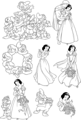 Seven Dwarfs Snow White Wall Decal Free CDR Vectors Art