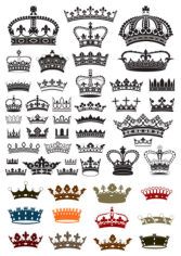 Collection of crown silhouette symbols Free CDR Vectors Art