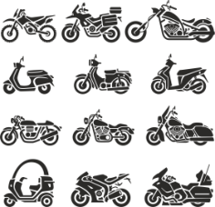 Motorcycle Silhouettes Free CDR Vectors Art