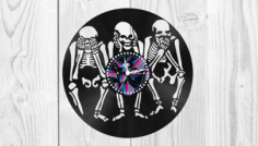 Skeletons Vinyl Clock Free CDR Vectors Art