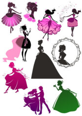 Wall Decal Sticker Princess Girl Beautiful Cinderella Free CDR Vectors Art