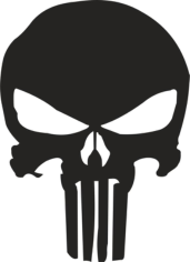 Punisher Skull Stencil Free CDR Vectors Art