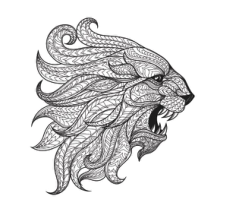 Ethnic patterned head of Lion Free CDR Vectors Art