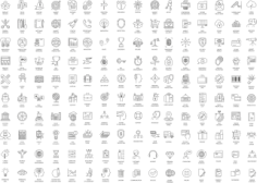 Thin Line Icons Set Free CDR Vectors Art
