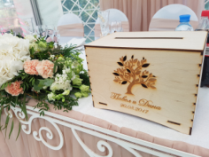 Wooden Wedding Boxes With Slot on Top Money Card Storage Free CDR Vectors Art