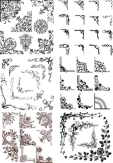 Vintage Ornaments Corners Vector Set Free CDR Vectors Art