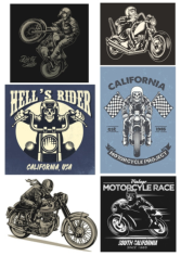 Retro Biker Set Free CDR Vectors Art