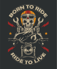 Born To Ride Moto Print Free CDR Vectors Art