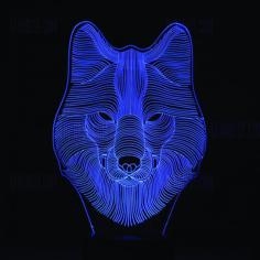 Wolf 3D LED Night Light Free CDR Vectors Art