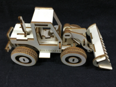 Bulldozer Laser Cut Wooden 3D Model Puzzle Kit Free CDR Vectors Art