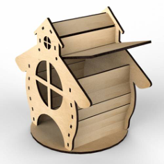 Plywood Tea House Design for Laser Cutting Free CDR Vectors Art